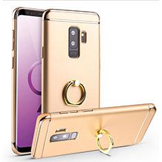 Handyhülle Hülle Luxus Metall Rahmen und Kunststoff Schutzhülle Tasche mit Fingerring Ständer A01 für Samsung Galaxy S9 Plus Gold