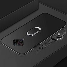 Handyhülle Hülle Luxus Metall Rahmen und Kunststoff Schutzhülle Tasche mit Fingerring Ständer A01 für Vivo X50 Lite Schwarz
