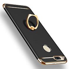 Handyhülle Hülle Luxus Metall Rahmen und Kunststoff Schutzhülle Tasche mit Fingerring Ständer A01 für Xiaomi Mi A1 Schwarz