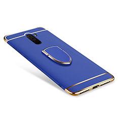 Handyhülle Hülle Luxus Metall Rahmen und Kunststoff Schutzhülle Tasche mit Fingerring Ständer A01 für Xiaomi Pocophone F1 Blau