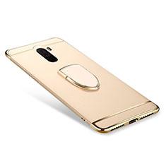 Handyhülle Hülle Luxus Metall Rahmen und Kunststoff Schutzhülle Tasche mit Fingerring Ständer A01 für Xiaomi Pocophone F1 Gold