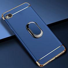 Handyhülle Hülle Luxus Metall Rahmen und Kunststoff Schutzhülle Tasche mit Fingerring Ständer A01 für Xiaomi Redmi Go Blau