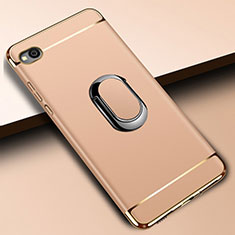 Handyhülle Hülle Luxus Metall Rahmen und Kunststoff Schutzhülle Tasche mit Fingerring Ständer A01 für Xiaomi Redmi Go Gold