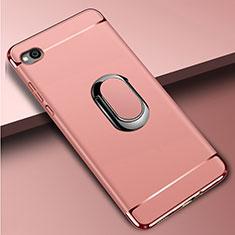 Handyhülle Hülle Luxus Metall Rahmen und Kunststoff Schutzhülle Tasche mit Fingerring Ständer A01 für Xiaomi Redmi Go Rosegold