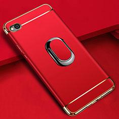 Handyhülle Hülle Luxus Metall Rahmen und Kunststoff Schutzhülle Tasche mit Fingerring Ständer A01 für Xiaomi Redmi Go Rot