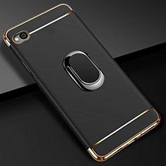 Handyhülle Hülle Luxus Metall Rahmen und Kunststoff Schutzhülle Tasche mit Fingerring Ständer A01 für Xiaomi Redmi Go Schwarz
