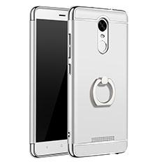 Handyhülle Hülle Luxus Metall Rahmen und Kunststoff Schutzhülle Tasche mit Fingerring Ständer A01 für Xiaomi Redmi Note 3 Pro Silber