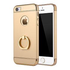 Handyhülle Hülle Luxus Metall Rahmen und Kunststoff Schutzhülle Tasche mit Fingerring Ständer A02 für Apple iPhone 5S Gold