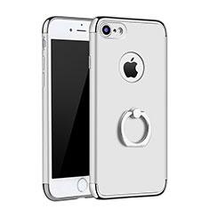 Handyhülle Hülle Luxus Metall Rahmen und Kunststoff Schutzhülle Tasche mit Fingerring Ständer A02 für Apple iPhone 7 Silber