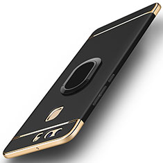 Handyhülle Hülle Luxus Metall Rahmen und Kunststoff Schutzhülle Tasche mit Fingerring Ständer A02 für Huawei P9 Schwarz