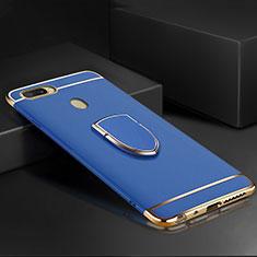 Handyhülle Hülle Luxus Metall Rahmen und Kunststoff Schutzhülle Tasche mit Fingerring Ständer A02 für Oppo A7 Blau