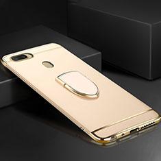 Handyhülle Hülle Luxus Metall Rahmen und Kunststoff Schutzhülle Tasche mit Fingerring Ständer A02 für Oppo A7 Gold