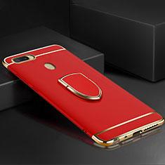 Handyhülle Hülle Luxus Metall Rahmen und Kunststoff Schutzhülle Tasche mit Fingerring Ständer A02 für Oppo A7 Rot
