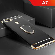 Handyhülle Hülle Luxus Metall Rahmen und Kunststoff Schutzhülle Tasche mit Fingerring Ständer A02 für Oppo A7 Schwarz