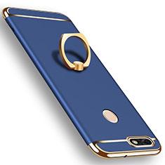 Handyhülle Hülle Luxus Metall Rahmen und Kunststoff Schutzhülle Tasche mit Fingerring Ständer A06 für Huawei Y6 Pro (2017) Blau
