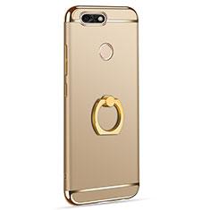 Handyhülle Hülle Luxus Metall Rahmen und Kunststoff Schutzhülle Tasche mit Fingerring Ständer A06 für Huawei Y6 Pro (2017) Gold