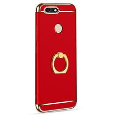 Handyhülle Hülle Luxus Metall Rahmen und Kunststoff Schutzhülle Tasche mit Fingerring Ständer A06 für Huawei Y6 Pro (2017) Rot