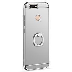Handyhülle Hülle Luxus Metall Rahmen und Kunststoff Schutzhülle Tasche mit Fingerring Ständer A06 für Huawei Y6 Pro (2017) Silber