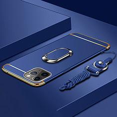 Handyhülle Hülle Luxus Metall Rahmen und Kunststoff Schutzhülle Tasche mit Fingerring Ständer T01 für Apple iPhone 11 Pro Max Blau