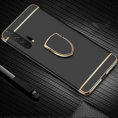 Handyhülle Hülle Luxus Metall Rahmen und Kunststoff Schutzhülle Tasche mit Fingerring Ständer T01 für Huawei Honor 20 Pro Schwarz