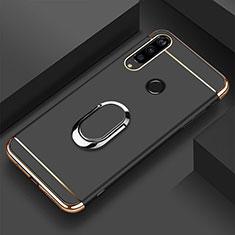 Handyhülle Hülle Luxus Metall Rahmen und Kunststoff Schutzhülle Tasche mit Fingerring Ständer T01 für Huawei Honor 20E Schwarz