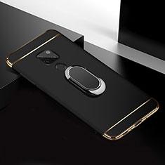 Handyhülle Hülle Luxus Metall Rahmen und Kunststoff Schutzhülle Tasche mit Fingerring Ständer T01 für Huawei Mate 20 Schwarz