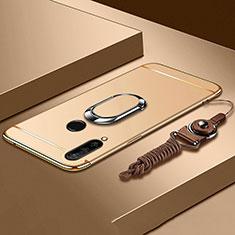 Handyhülle Hülle Luxus Metall Rahmen und Kunststoff Schutzhülle Tasche mit Fingerring Ständer T01 für Huawei Nova 4e Gold