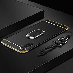 Handyhülle Hülle Luxus Metall Rahmen und Kunststoff Schutzhülle Tasche mit Fingerring Ständer T01 für Samsung Galaxy Note 10 5G Schwarz