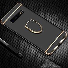 Handyhülle Hülle Luxus Metall Rahmen und Kunststoff Schutzhülle Tasche mit Fingerring Ständer T01 für Samsung Galaxy S10 Plus Schwarz