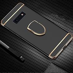Handyhülle Hülle Luxus Metall Rahmen und Kunststoff Schutzhülle Tasche mit Fingerring Ständer T01 für Samsung Galaxy S10e Schwarz