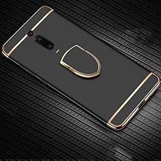 Handyhülle Hülle Luxus Metall Rahmen und Kunststoff Schutzhülle Tasche mit Fingerring Ständer T01 für Xiaomi Mi 9T Pro Schwarz