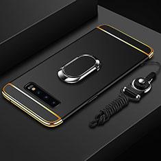 Handyhülle Hülle Luxus Metall Rahmen und Kunststoff Schutzhülle Tasche mit Fingerring Ständer T02 für Samsung Galaxy S10 5G Schwarz