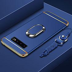 Handyhülle Hülle Luxus Metall Rahmen und Kunststoff Schutzhülle Tasche mit Fingerring Ständer T02 für Samsung Galaxy S10 Plus Blau