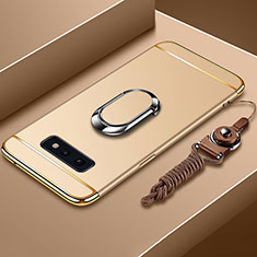 Handyhülle Hülle Luxus Metall Rahmen und Kunststoff Schutzhülle Tasche mit Fingerring Ständer T02 für Samsung Galaxy S10e Gold