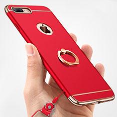 Handyhülle Hülle Luxus Metall Rahmen und Kunststoff Schutzhülle Tasche mit Fingerring Ständer und Lanyard A01 für Apple iPhone 8 Plus Rot