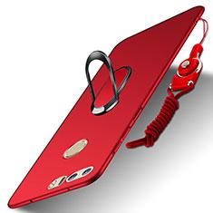 Handyhülle Hülle Luxus Metall Rahmen und Kunststoff Schutzhülle Tasche mit Fingerring Ständer und Lanyard A01 für Huawei Honor 8 Rot
