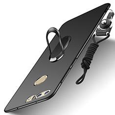 Handyhülle Hülle Luxus Metall Rahmen und Kunststoff Schutzhülle Tasche mit Fingerring Ständer und Lanyard A01 für Huawei Honor 8 Schwarz