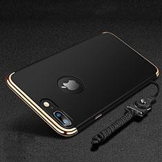 Handyhülle Hülle Luxus Metall Rahmen und Kunststoff Schutzhülle Tasche mit Fingerring Ständer und Lanyard für Apple iPhone 8 Plus Schwarz
