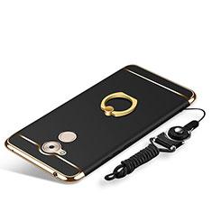 Handyhülle Hülle Luxus Metall Rahmen und Kunststoff Schutzhülle Tasche mit Fingerring Ständer und Lanyard für Huawei Enjoy 6S Schwarz