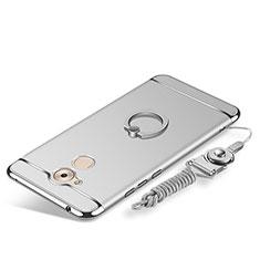Handyhülle Hülle Luxus Metall Rahmen und Kunststoff Schutzhülle Tasche mit Fingerring Ständer und Lanyard für Huawei Enjoy 6S Silber