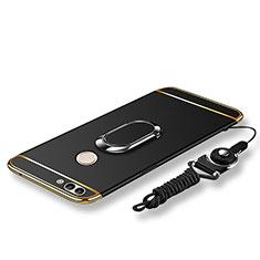 Handyhülle Hülle Luxus Metall Rahmen und Kunststoff Schutzhülle Tasche mit Fingerring Ständer und Lanyard für Huawei Enjoy 7S Schwarz
