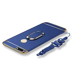 Handyhülle Hülle Luxus Metall Rahmen und Kunststoff Schutzhülle Tasche mit Fingerring Ständer und Lanyard für Huawei Enjoy 8 Blau