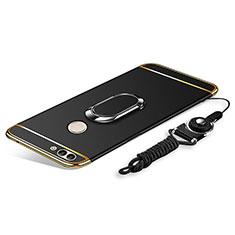 Handyhülle Hülle Luxus Metall Rahmen und Kunststoff Schutzhülle Tasche mit Fingerring Ständer und Lanyard für Huawei Enjoy 8 Plus Schwarz