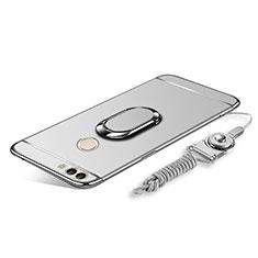 Handyhülle Hülle Luxus Metall Rahmen und Kunststoff Schutzhülle Tasche mit Fingerring Ständer und Lanyard für Huawei Enjoy 8 Plus Silber
