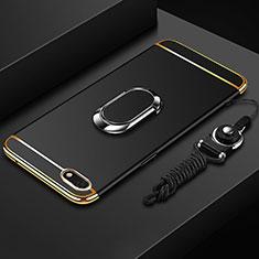 Handyhülle Hülle Luxus Metall Rahmen und Kunststoff Schutzhülle Tasche mit Fingerring Ständer und Lanyard für Huawei Enjoy 8e Lite Schwarz
