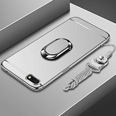 Handyhülle Hülle Luxus Metall Rahmen und Kunststoff Schutzhülle Tasche mit Fingerring Ständer und Lanyard für Huawei Enjoy 8e Lite Silber