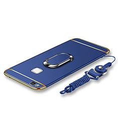 Handyhülle Hülle Luxus Metall Rahmen und Kunststoff Schutzhülle Tasche mit Fingerring Ständer und Lanyard für Huawei G9 Lite Blau
