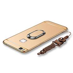 Handyhülle Hülle Luxus Metall Rahmen und Kunststoff Schutzhülle Tasche mit Fingerring Ständer und Lanyard für Huawei G9 Lite Gold