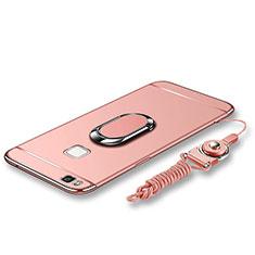 Handyhülle Hülle Luxus Metall Rahmen und Kunststoff Schutzhülle Tasche mit Fingerring Ständer und Lanyard für Huawei G9 Lite Rosegold