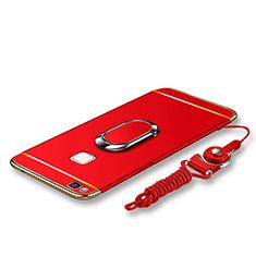 Handyhülle Hülle Luxus Metall Rahmen und Kunststoff Schutzhülle Tasche mit Fingerring Ständer und Lanyard für Huawei G9 Lite Rot